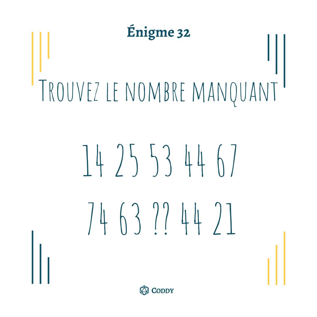Énigme 32 - Nombre manquant