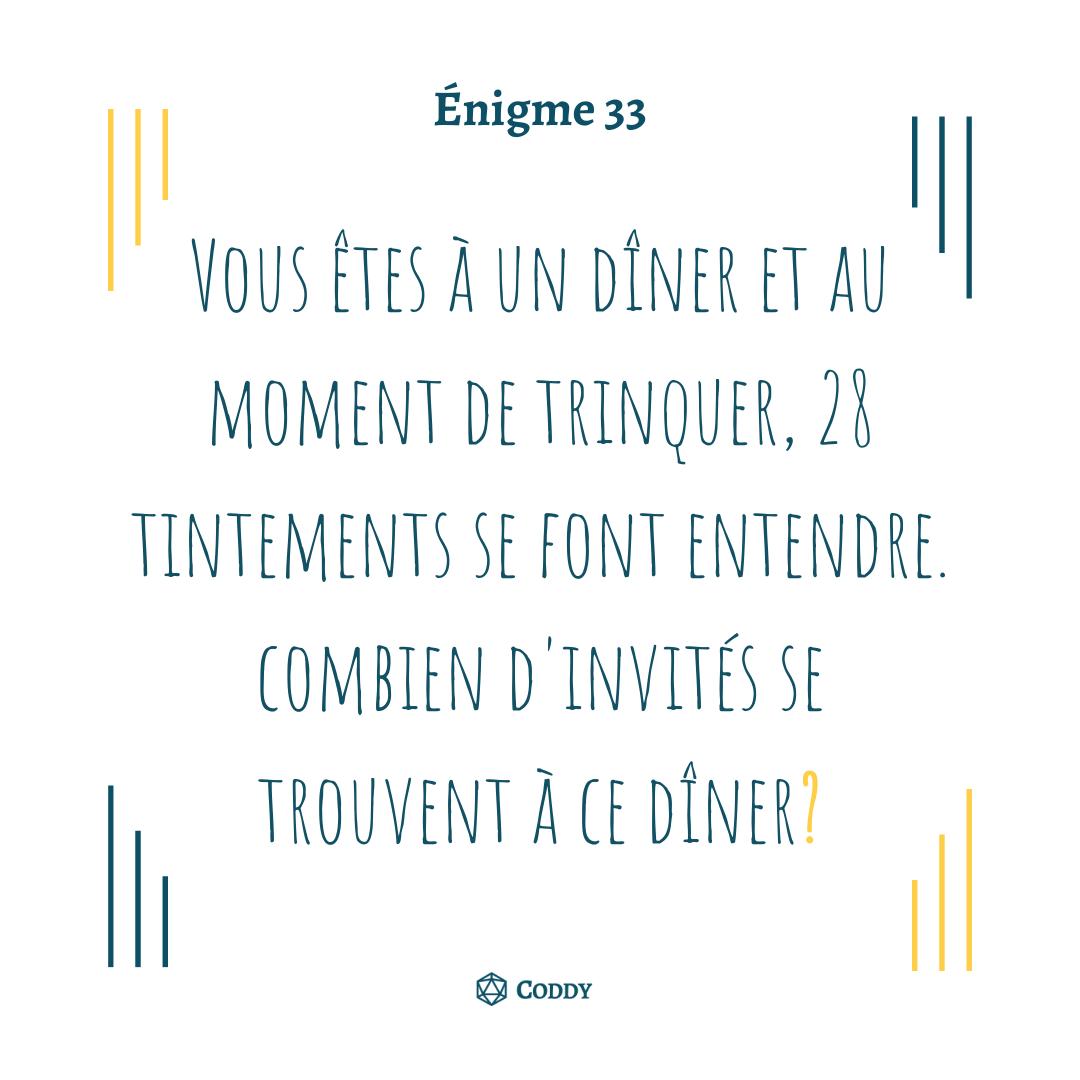Énigme 33 - Le dîner